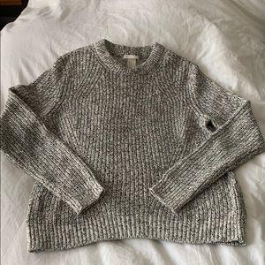 H&M Black + White Marled Crew Sweater - Sz M